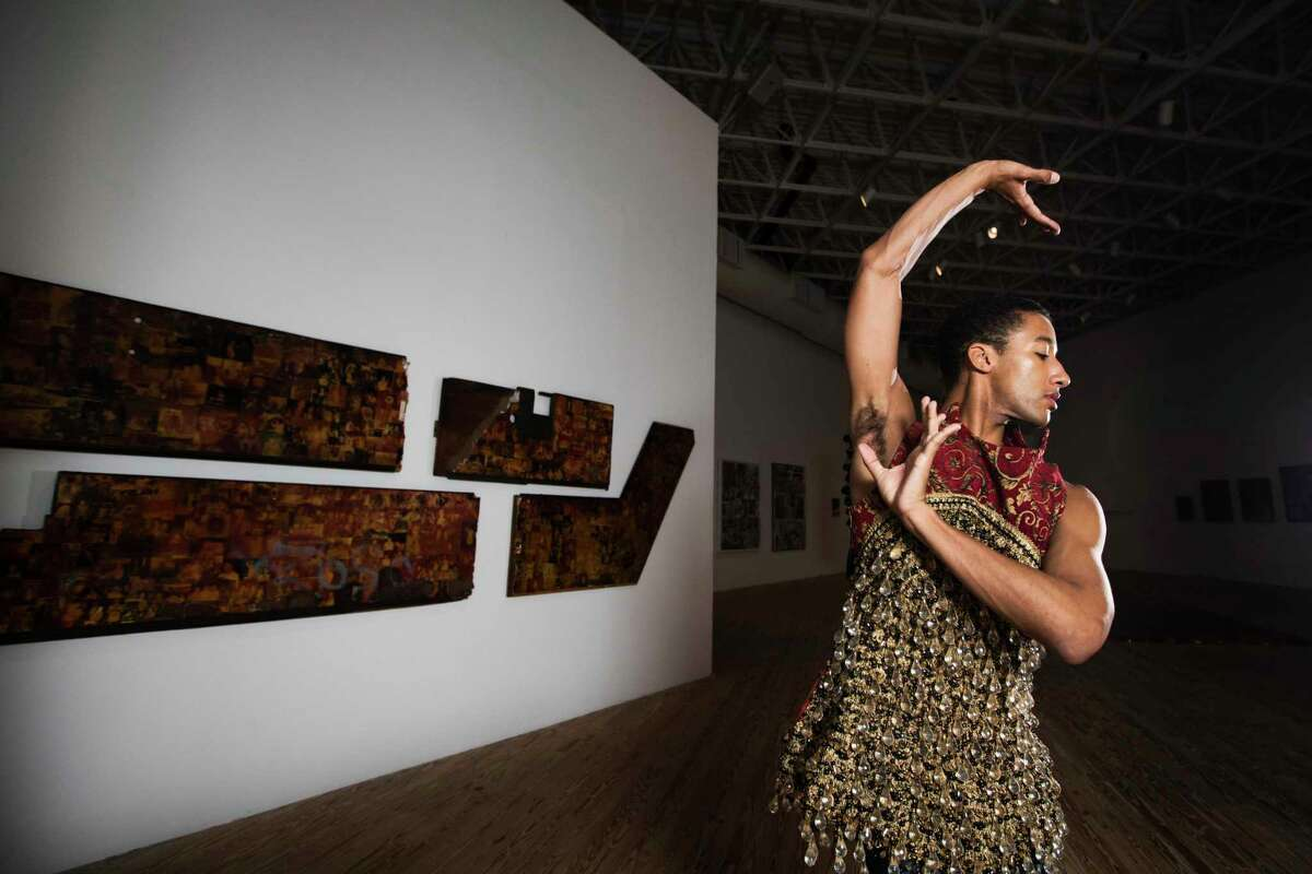 Houston Ballet's Harper Watters wears Kings Brocade Armor, $3,500, Maritime Pants, $400, by Kenneth Nicholson at the Contemporary Arts Museum Houston.