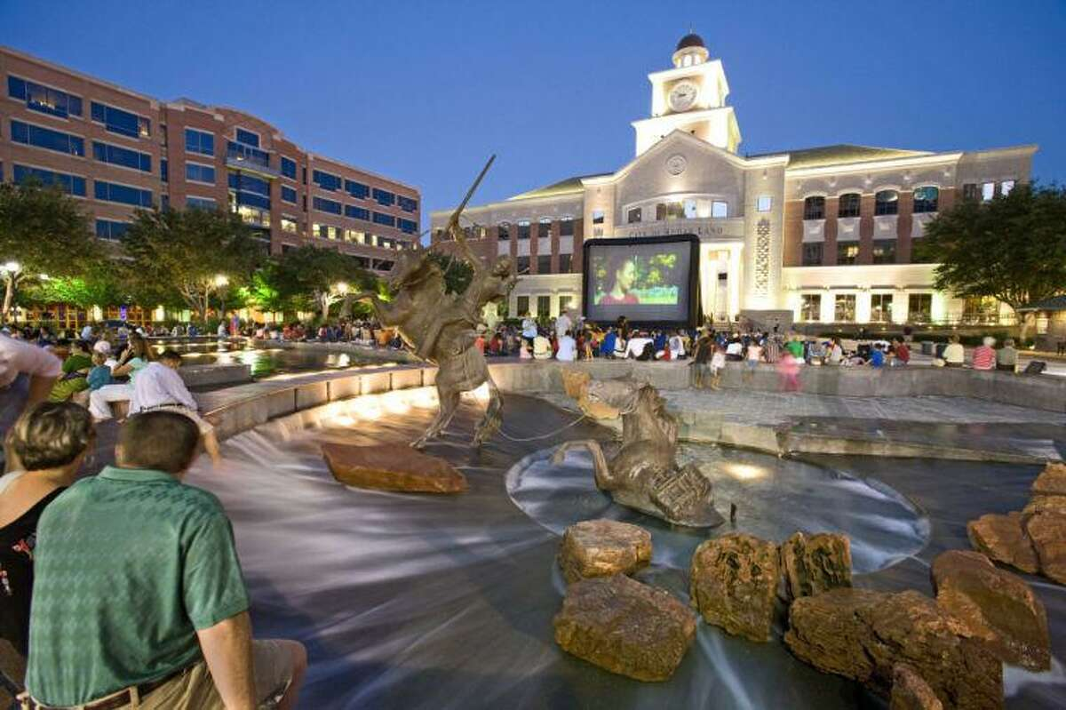 A shot of Sugar Land Town Square's plaza, in front of Sugar Land City Hall.