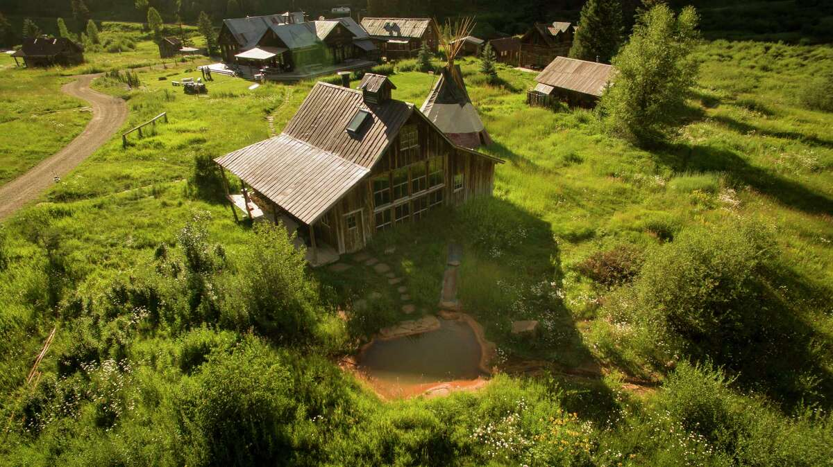 An aerial view of the bath house at Dunton Hot Springs