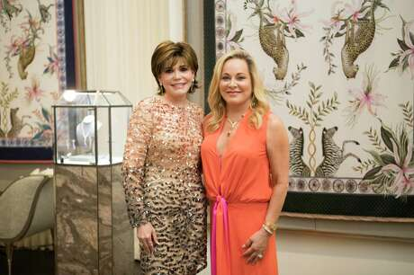 Hallie Vanderhider and Jordan Alexander jewelry   designer Theresa Bruno at the Houston Atelier