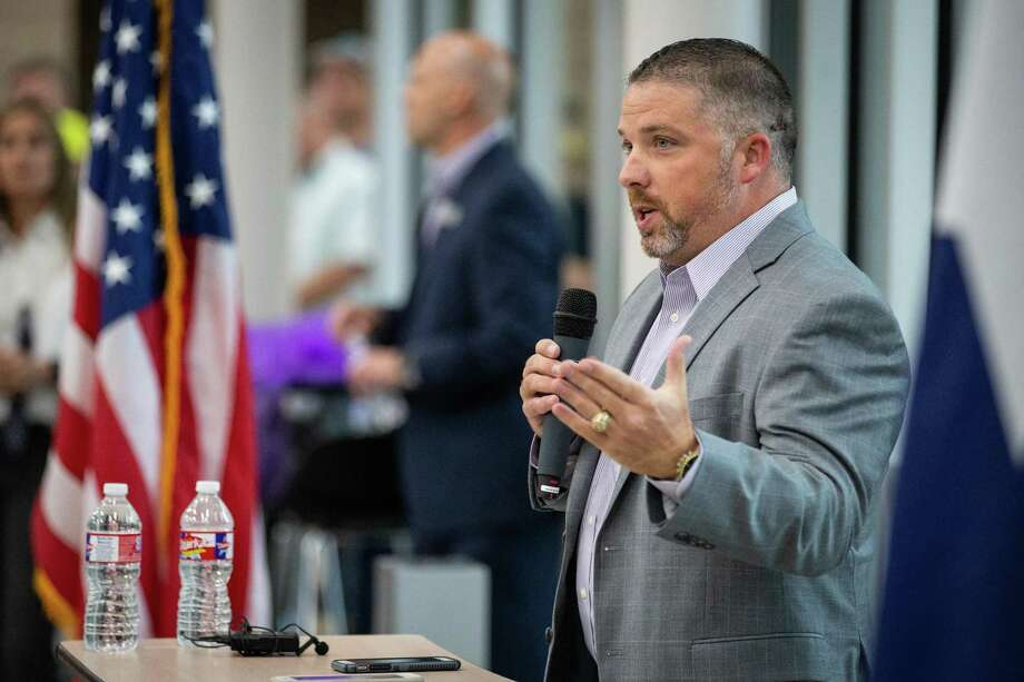 Cliff Williams, Willis ISD Board President, speaks during the grand opening ceremony on Sunday, Aug. 12, 2018, at the Willis ISD Career & Technology Education Center. Photo: Michael Minasi, Staff Photographer / Houston Chronicle / © 2018 Houston Chronicle