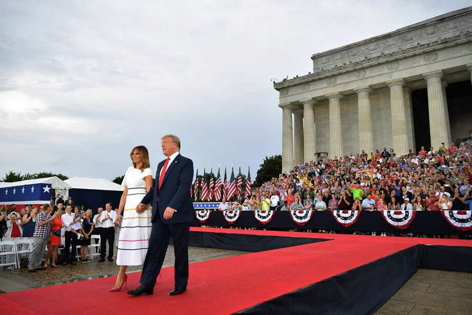 "US President Donald Trump and First Lady Melania Trump arrive to ""Salute to America"" Fourth of July event at the Lincoln Memorial in Washington, DC, July 4, 2019. (Photo by MANDEL NGAN / AFP)MANDEL NGAN/AFP/Getty Images Photo: MANDEL NGAN / AFP/Getty Images / AFP or licensors"