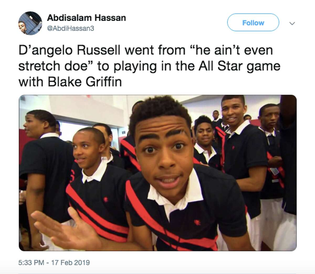 Things you probably didn't know about D'Angelo Russell  He became an internet meme at age 16A high school-aged Russell attended a summer 2012 Team USA practice leading up to the London Olympics, and his reaction to one of Blake Griffin's dunks instantly became a meme.