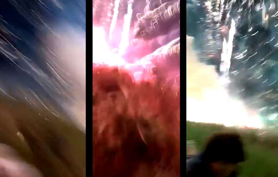"Twitter user @marshall_wagers captured video showing the fireworks ""malfunction"" that happened during the Kyle Fourth of July celebration at Plum Creek Golf Course in Kyle, Texas. Photo: @marshall_wagers"