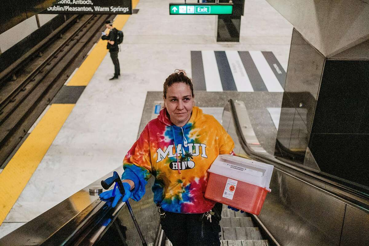 July 5, 2019 -BART employee Bobbi Hodgerney searches the Civic Center BART Station for discarded needled and syringes. BART has seen a dramatic drop in the number of syringes discarded at two of its biggest downtown San Francisco stations -- from a high of 4,197 in July of last year, to 585 in May of this year. Transit officials credit the rise of fentanyl, which can be smoked, rather than injected.