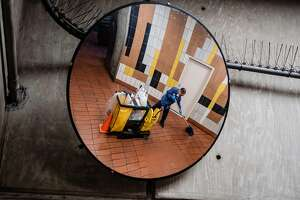 July 5, 2019 -BART employee Dave Zapata goes through his routine cleaning the 24th and Mission St. station which includes picking up discarded needles and syringes. BART has seen a dramatic drop in the number of syringes discarded at two of its biggest downtown San Francisco stations -- from a high of 4,197 in July of last year, to 585 in May of this year. Transit officials credit the rise of fentanyl, which can be smoked, rather than injected.