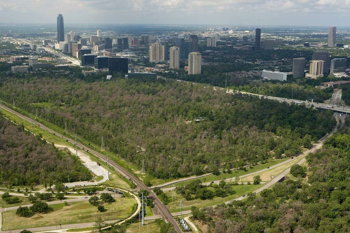 This photo from 2012 shows the loss of the tree canopy in Memorial Park and the Arboretum due to Hurricane Ike and years of drought.