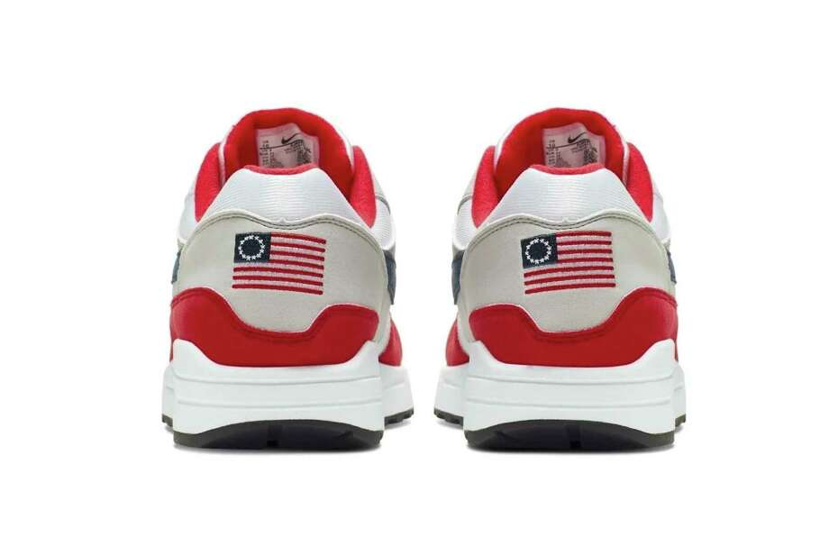 This undated product image obtained by the Associated Press shows Nike Air Max 1 Quick Strike Fourth of July shoes that have a U.S. flag with 13 white stars in a circle on it, known as the Betsy Ross flag, on them. Nike is pulling the flag-themed tennis shoe after former NFL quarterback Colin Kaepernick complained to the shoemaker, according to the Wall Street Journal. (Nike via AP Photo) Photo: Associated Press / Nike Obtained by Associated Press
