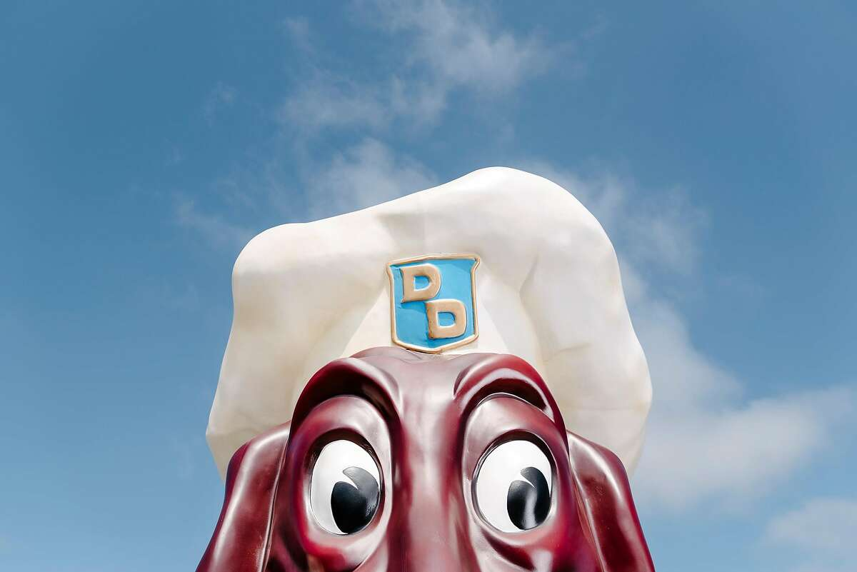Kip Atchley's Doggie Diner head sits in a parking lot in Napa, Calif., on July 5th, 2019. Napa resident Kip Atchley wants to resurrect Doggie Diner, the fast-food chain that maintained locations in San Francisco and Oakland from the 1940s to the 1980s