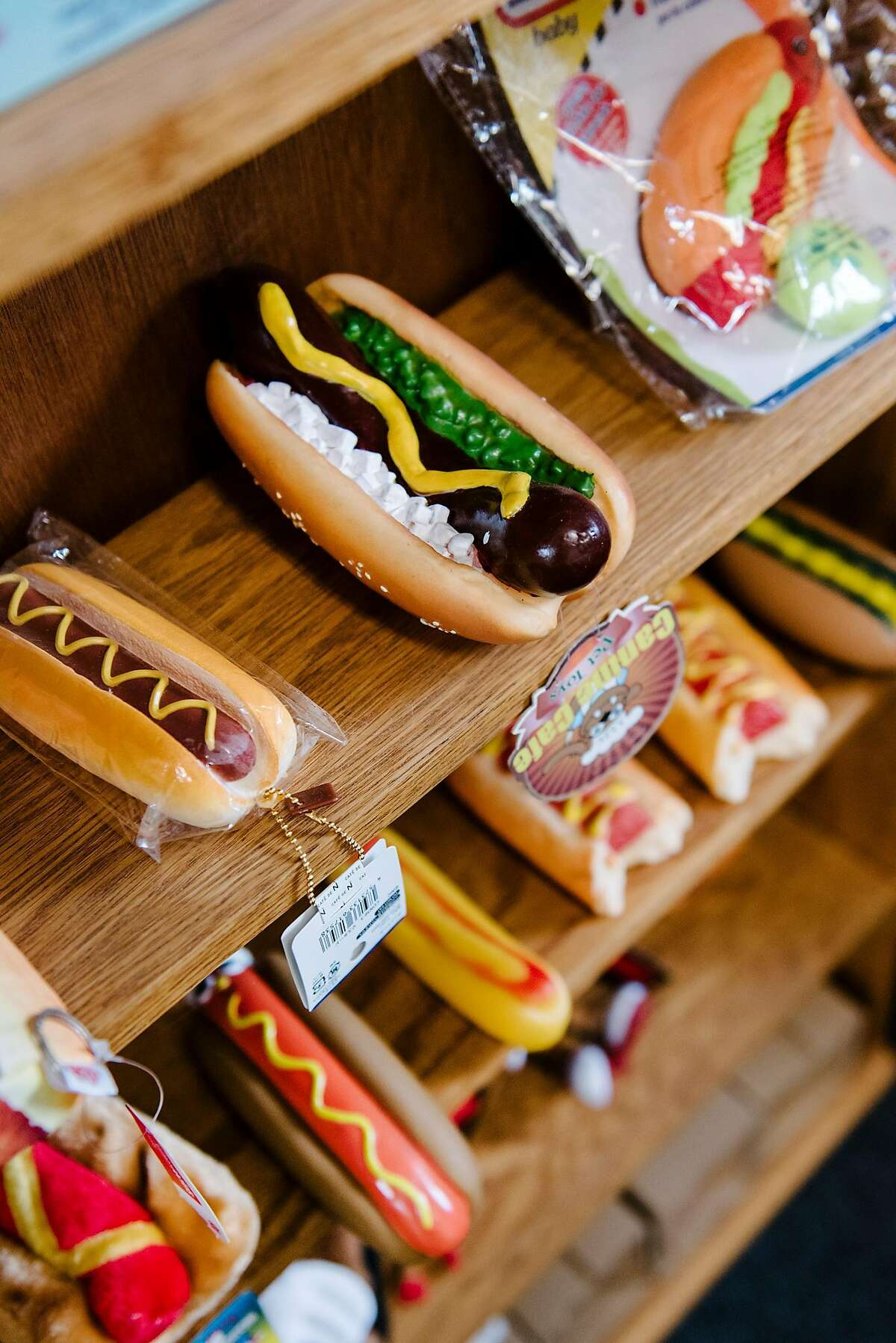 Hotdog themed items line the walls of Kip Atchley's office in Napa, Calif., on July 5th, 2019. Napa resident Kip Atchley wants to resurrect Doggie Diner, the fast-food chain that maintained locations in San Francisco and Oakland from the 1940s to the 1980s