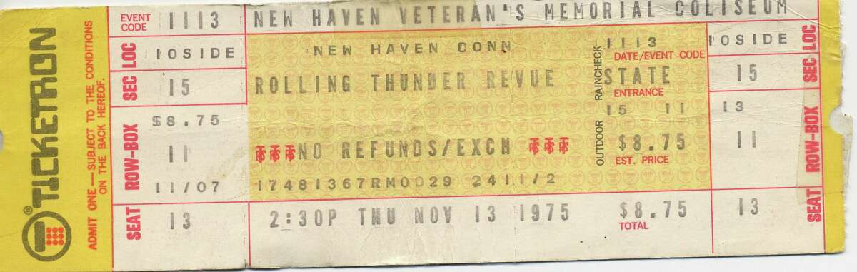 A ticket stub from the afternoon show of the Rolling Thunder Revue, Nov. 13, 1975, at the New Haven Coliseum.