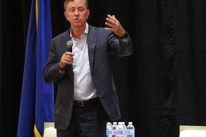 Connecticut Governor Ned Lamont answers questions from business leaders following his keynote speech at the Business Council of Fairfield's annual meeting at the Stamford Hilton on June 27, 2019 in Stamford, Connecticut.