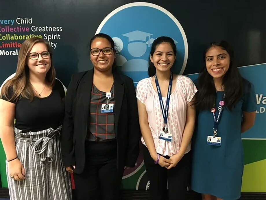 Pictured from left are Katie Redd, Maria Alvarez, Andrea Ramirez and Brittnie Balbuena. They are members of the Collegiate Challenge in Spring Branch ISD. Photo: Spring Branch ISD