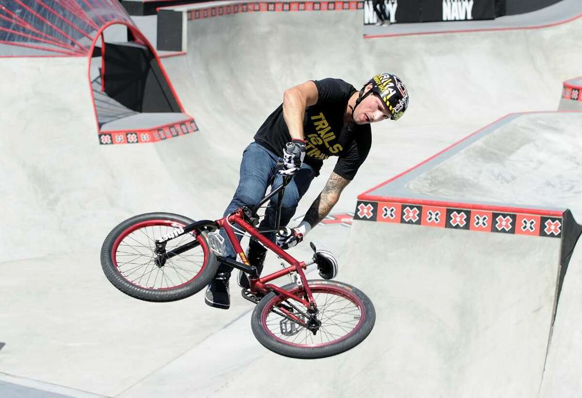 LOS ANGELES, CA - JULY 29: Brandon Dosch competes in the BMX freestyle park elimination during X Games 16 at the Event Deck LA Live on July 29, 2010 in Los Angeles, California. (Photo by Harry How/Getty Images) *** Local Caption *** Brandon Dosch