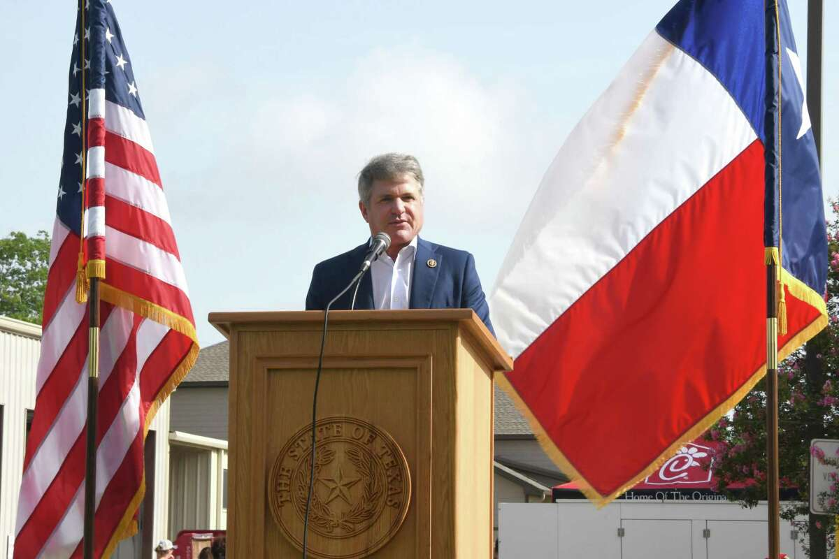 Congressman Michael McCaul addresses attendees to the Katy Freedom Celebration on Thursday, July 4, 2019 at Katy Fie Station #1, Katy, TX.