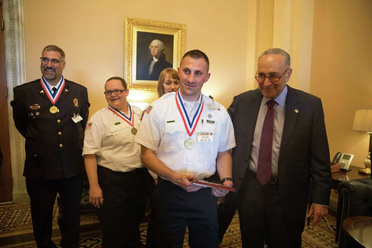 Mohawk Ambulance Service crew members David Battaglia and Julia Westcott were among several EMS providers from New York State to meet with Sen. Charles E. Schumer during the American Ambulance Association?s annual Stars of Life event in Washington, D.C., June 24 to 26.
