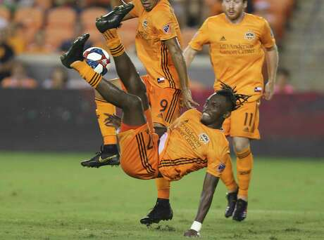 Houston Dynamo forward Alberth Elis (17) attempts a bicycle kick during the second half of the MLS game against the New York Red Bulls at BBVA Stadium on Wednesday, July 3, 2019, in Houston.