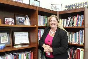 Greenwich Public School Superintendent Toni Jones in heroffice in Havemeyer.