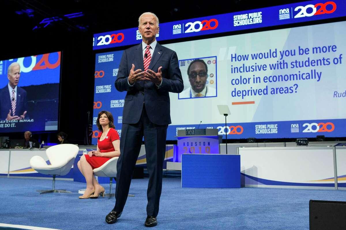 Democratic presidential hopeful, former vice president Joe Biden, speaks during the National Education Association Strong Public Schools Presidential Forum on Friday, July 5, 2019, in Houston.