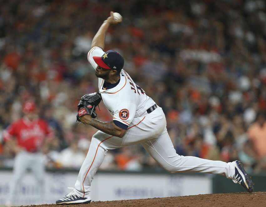 Houston Astros starting pitcher Josh James (39) pitches during the top ninth inning of the MLB game against the Los Angeles Angels at Minute Maid Park on Friday, July 5, 2019, in Houston.