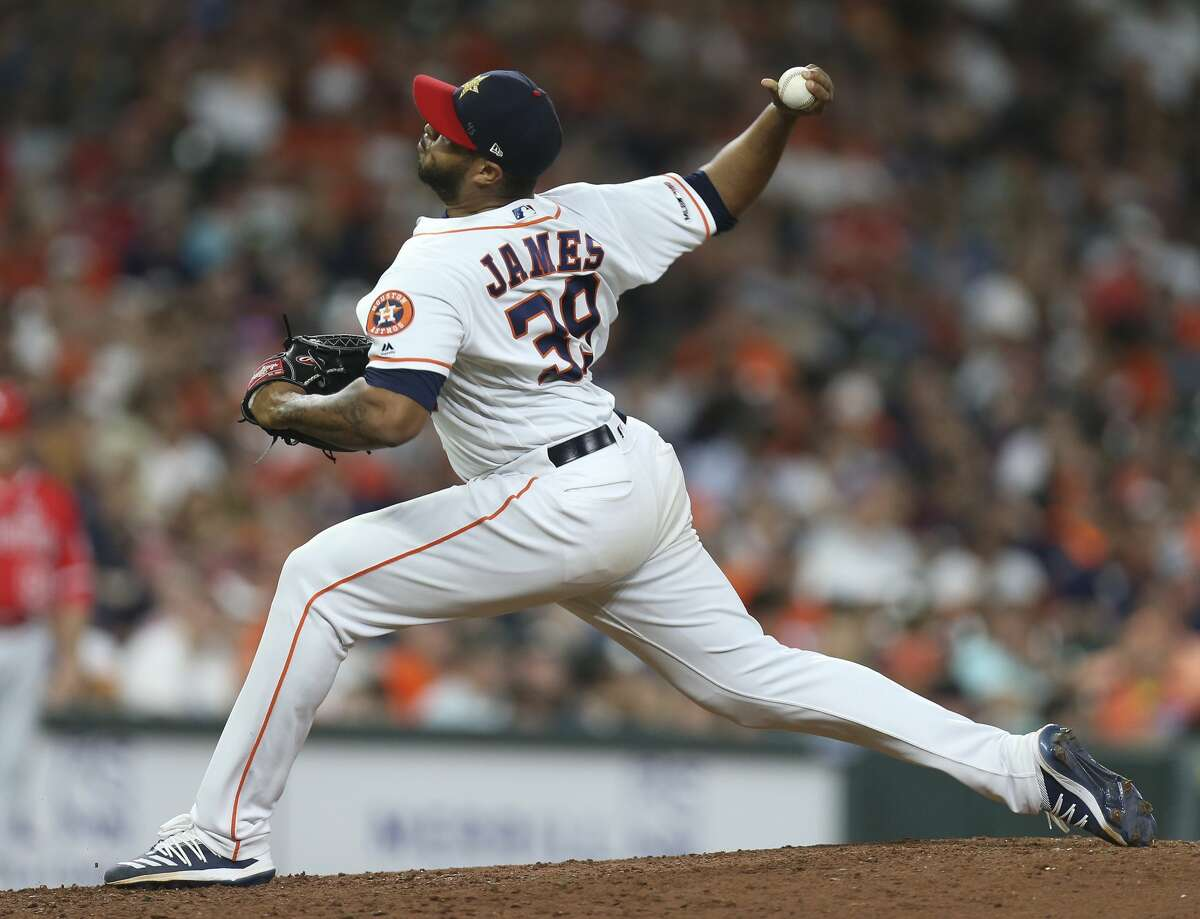 PHOTOS: 2019 Astros game-by-game Houston Astros starting pitcher Josh James (39) pitches during the top ninth inning of the MLB game against the Los Angeles Angels at Minute Maid Park on Friday, July 5, 2019, in Houston. >>>See how the Astros have fared in each game this season ...