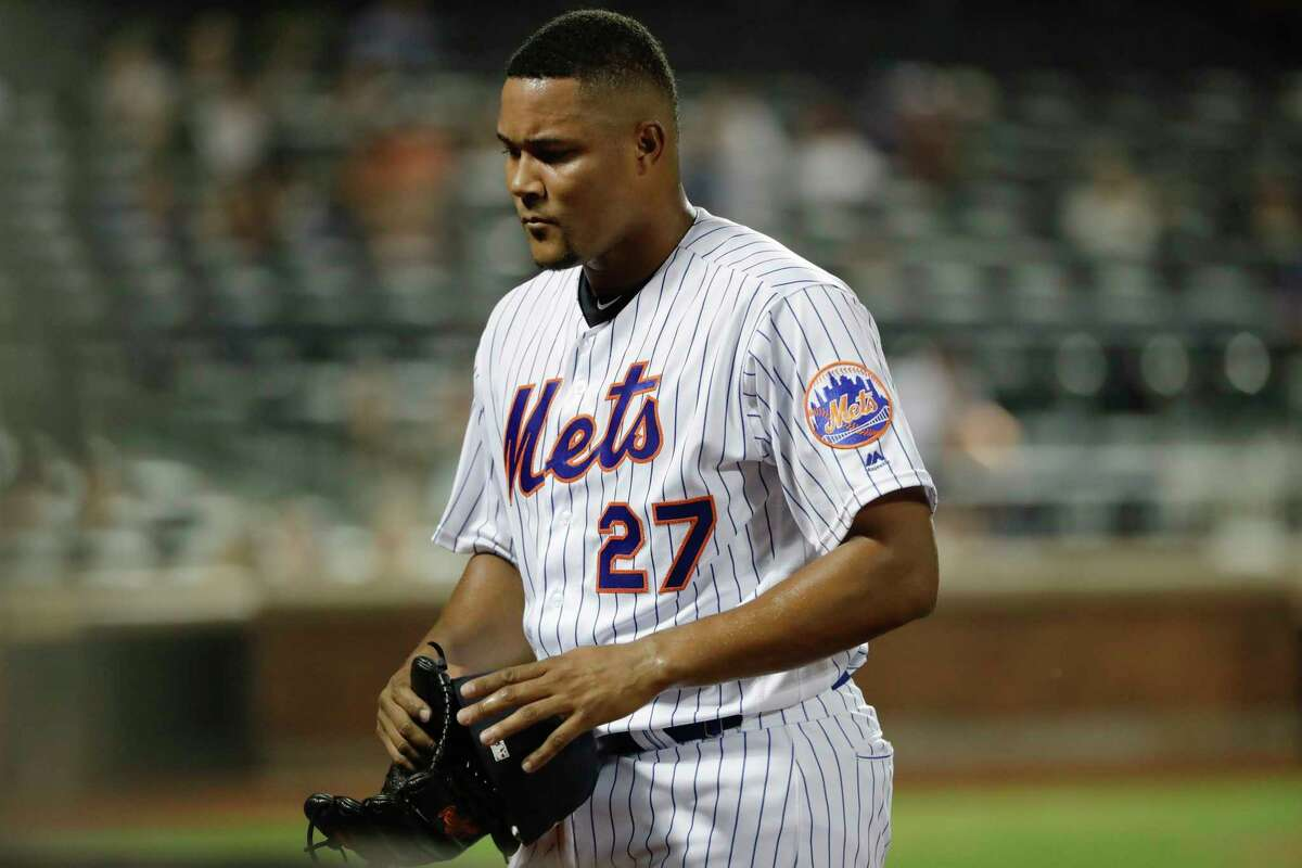 New York Mets relief pitcher Jeurys Familia leaves the field after the Philadelphia Phillies scored five runs during the ninth inning of a baseball game Friday, July 5, 2019, in New York. (AP Photo/Frank Franklin II)