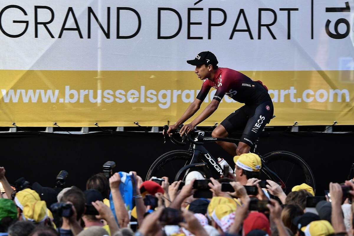 Colombia's rider Egan Bernal of Great Britain's Team Ineos arrives for the team presentation ceremony at the Grand-Place - Grote Markt Square in Brussels on July 4, 2019, two days prior to the start of the 106th edition of the Tour de France cycling race. - On Saturday, July 6, the 106th edition of the Tour de France will start with a 194.5km stage in the region of Brussels, 100 years after the introduction of the yellow jersey and 50 years after Belgian legend Eddy Merckx won his first Tour. (Photo by JEFF PACHOUD / AFP)JEFF PACHOUD/AFP/Getty Images