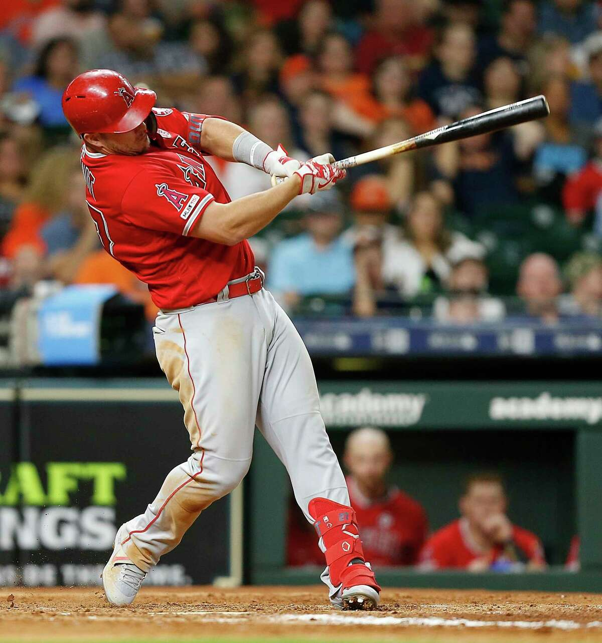 HOUSTON, TEXAS - JULY 05: Mike Trout #27 of the Los Angeles Angels of Anaheim hits a home run in the eighth inning against the Houston Astros at Minute Maid Park on July 05, 2019 in Houston, Texas. (Photo by Bob Levey/Getty Images)