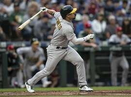 SEATTLE, WA - JULY 5: Franklin Barreto #1 of the Oakland Athletics hits a solo home run off of starting pitcher starting pitcher Yusei Kikuchi #18 of the Seattle Mariners during the third inning of a game at T-Mobile Park on July 5, 2019 in Seattle, Washington. (Photo by Stephen Brashear/Getty Images)