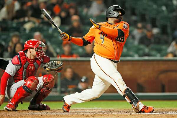 San Francisco Giants third baseman Pablo Sandoval (48) swings and misses in the 8th inning of an MLB game against the St. Louis Cardinals at Oracle Park on Friday, July 5, 2019, in San Francisco, Calif.