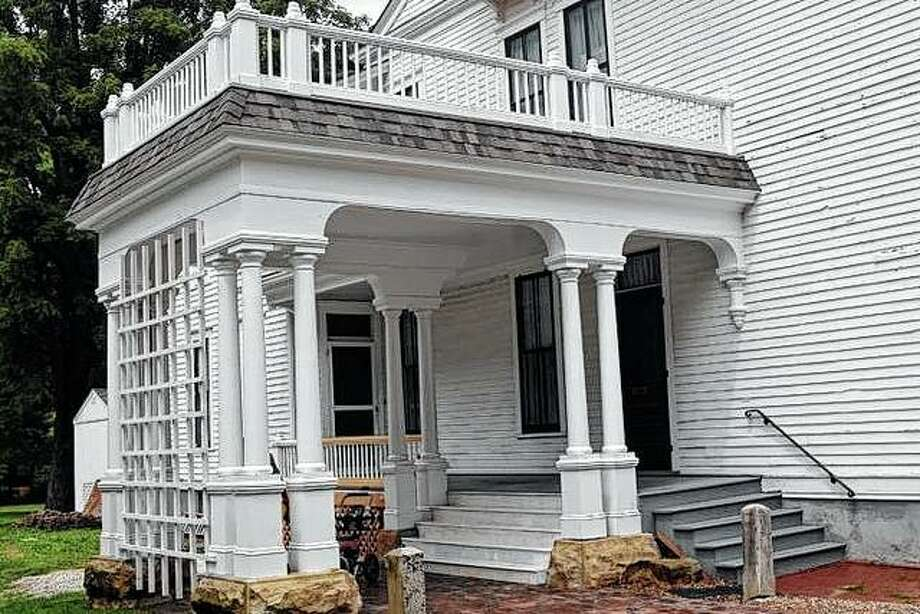 The porch and porte cochere were rebuilt this year as a part of the ongoing renovation of the Governor Duncan Mansion. Photo: Samantha McDaniel-Ogletree | Journal-Courier