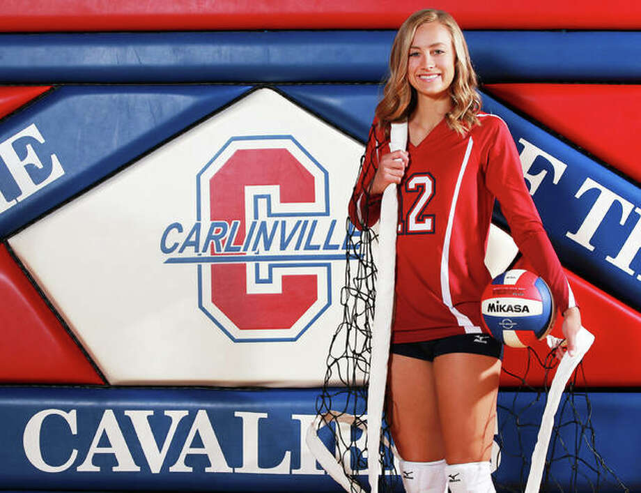 Carlinville's Adriann Welte is the 2018 Telegraph Small-Schools Volleyball Player of the Year. The 6-foot Welte, who led the 19-13 Cavaliers in both kills and digs, will play Division II college volleyball at Maryville University. Photo: Billy Hurst / For The Telegraph