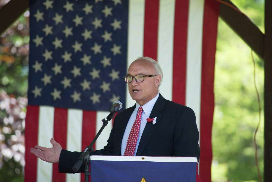 First selectman Rudy Marconi spoke at Ballard park on Memorial Day, Monday, May 28, 2019 in Ridgefield, Conn. Two thousand marchers representing more than 75 organizations marched on Memorial Day, The parade started at Jesse Lee Church and ended in the park. Photo: Bryan Haeffele / Hearst Connecticut Media / Connecticut Post