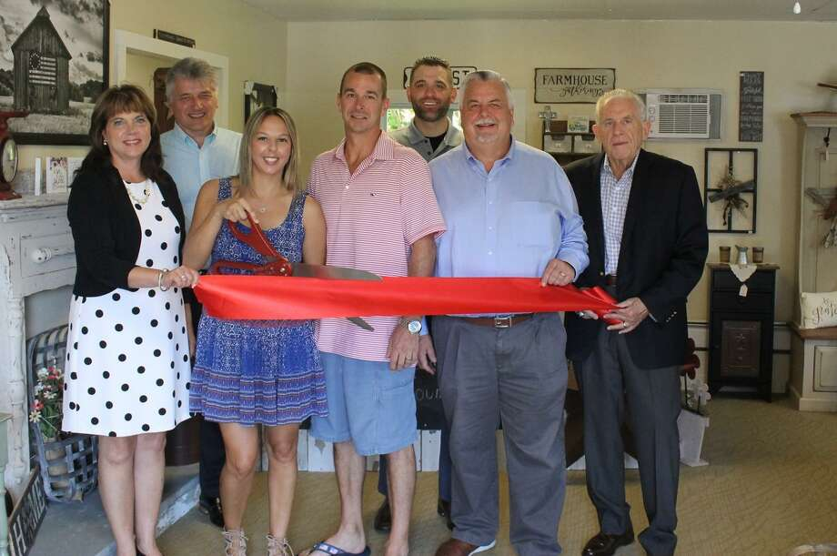 A Touch of Country held a ribbon cutting June 28 at 354 Main St., Durham. From left are Durham First Selectman Laura Francis, Middlesex County Chamber of Commerce Durham Division Chairwoman Jan Wojas, A Touch of Country owners Jessie Christopher and Matthew Christopher, Chamber Vice President Jeff Pugliese, Chairman Don DeVivo and President Larry McHugh. Photo: Contributed Photo