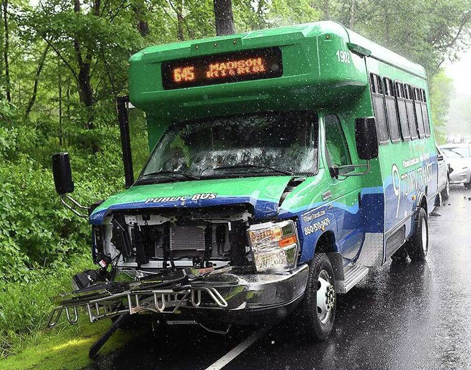 No one was injured in a motor vehicle cash June 13 on Killingworth Road involving a 9 Town Transit bus and car, according to Haddam Volunteer Fire Co. Photo: Olivia Drake Photo