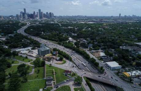 Vehicles travel along Interstate 45 at North Main Street, north of downtown Houston, on July 5.