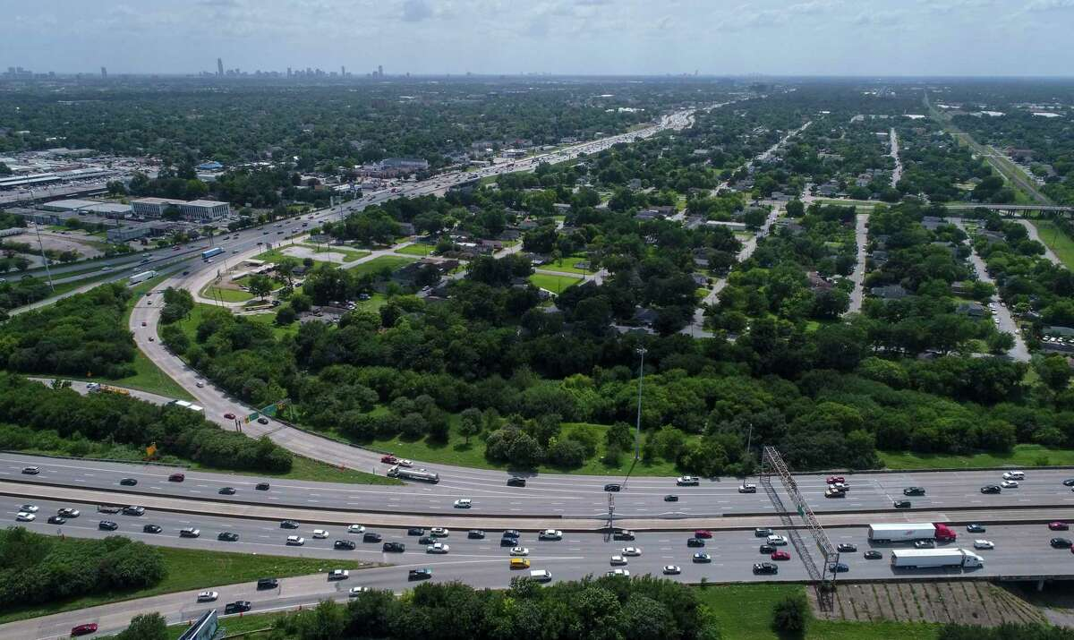 Traffic flows where Interstate 45 intersects Loop 610, near the Independence Heights neighborhood on July 5.