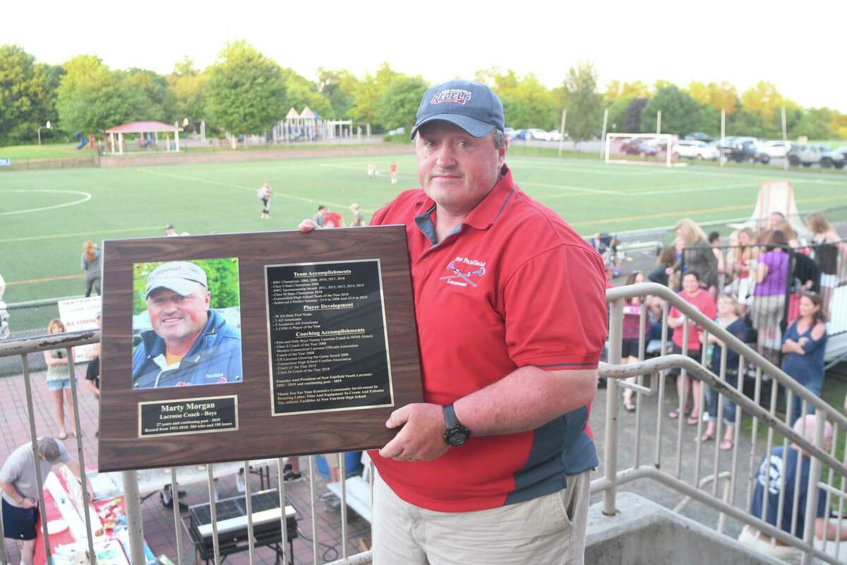 New Fairfield coach Marty Morgan was inducted into New Fairfield High School's Hall of Fame this June.