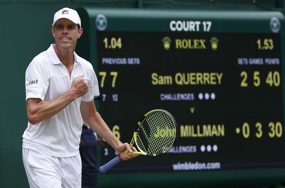 Sam Querrey celebrates after beating Australia's John Millman in a Men's singles match during day six of the Wimbledon Tennis Championships in London, Saturday, July 6, 2019. (AP Photo/Alastair Grant) Photo: Alastair Grant / Associated Press
