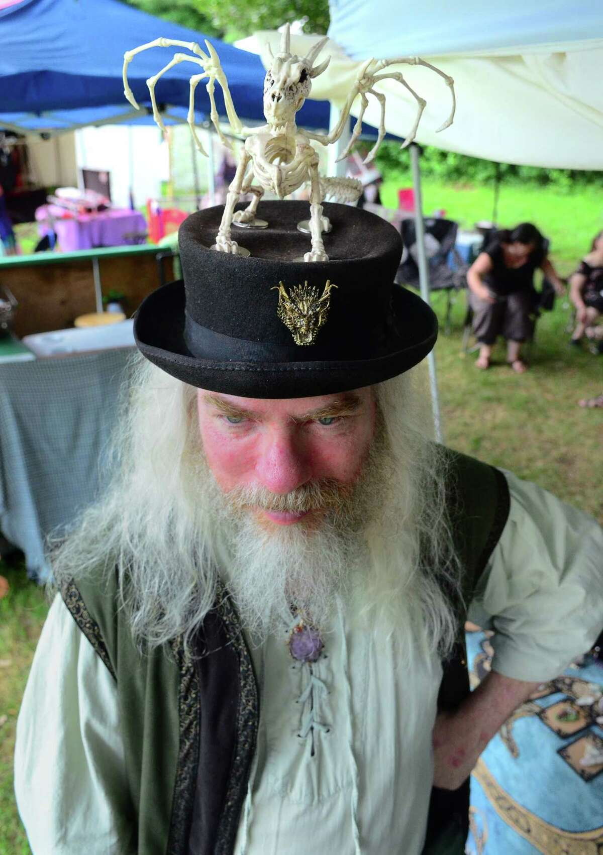 Wayne Tolbert, of Binghamton, NY, attends the annual Midsummer Fantasy Renaissance Faire at Warsaw Park in Ansonia, Conn., on Saturday July 6, 2019. The fair continues Sunday from 11 a.m. to 6 p.m.