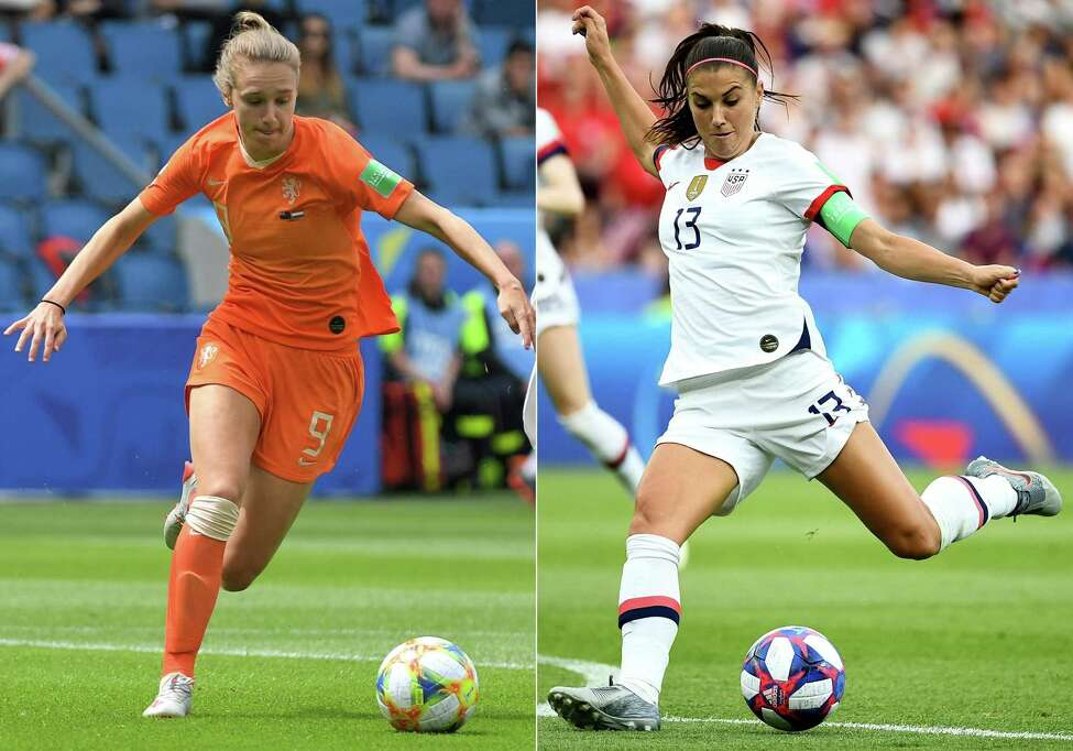(COMBO) This combination of file pictures created on July 6, 2019 shows Netherlands' forward Vivianne Miedema (L) during the France 2019 Women's World Cup Group E football match between New Zealand and the Netherlands at the Oceane Stadium in Le Havre on June 11, 2019, and United States' midfielder Alex Morgan during the France 2019 Women's World Cup quarter-final football match between France and USA at the Parc des Princes stadium in Paris on June 28, 2019. - The United States will face the Netherlands on July 7, 2019 in the women's World Cup final to be played in Lyon. (Photos by LOIC VENANCE and FRANCK FIFE / AFP)LOIC VENANCE,FRANCK FIFE/AFP/Getty Images