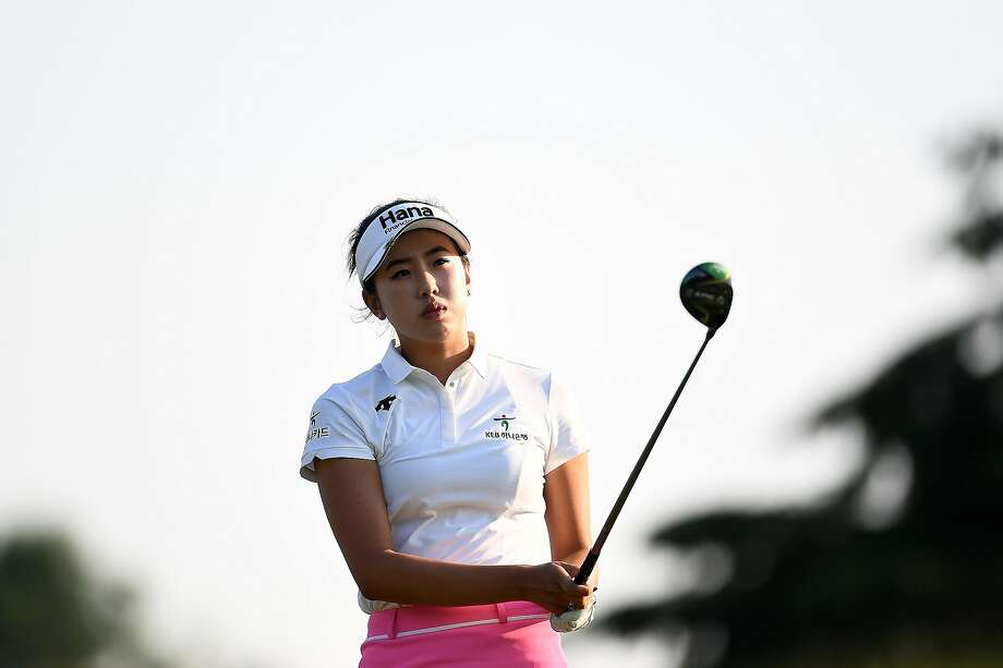 Yealimi Noh, 17, hits her tee shot on the 16th hole during the third round in Oneida, Wis. Photo: Stacy Revere / Getty Images