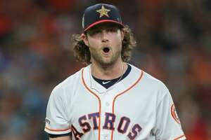 Houston Astros starting pitcher Gerrit Cole (45) reacts to striking out Los Angeles Angels right fielder Kole Calhoun (56) in  the sixth inning of an MLB baseball game at Minute Maid Park Saturday, July 6, 2019, in Houston.