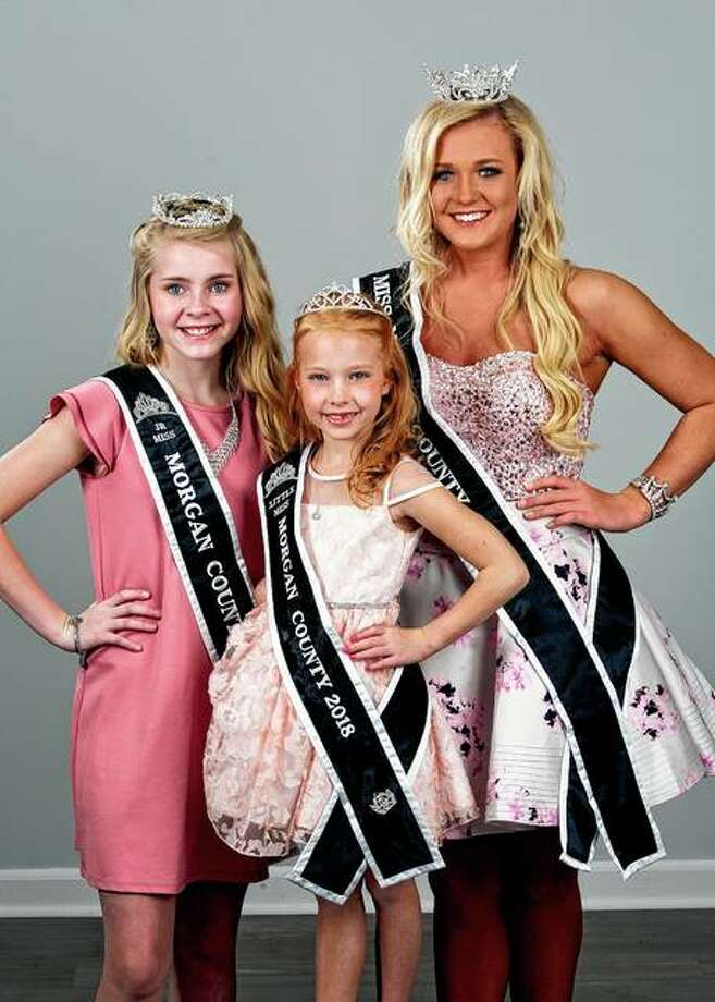 Miss Morgan County 2018 Savanna Long (right), Junior Miss Morgan County 2018 Bella Evans (left) and Little Miss Morgan County 2018 Chloe Buhlig will preside over Tuesday's Morgan County Fair pageants before passing on their titles. Photo: Photos Provided | Warmowski Photography