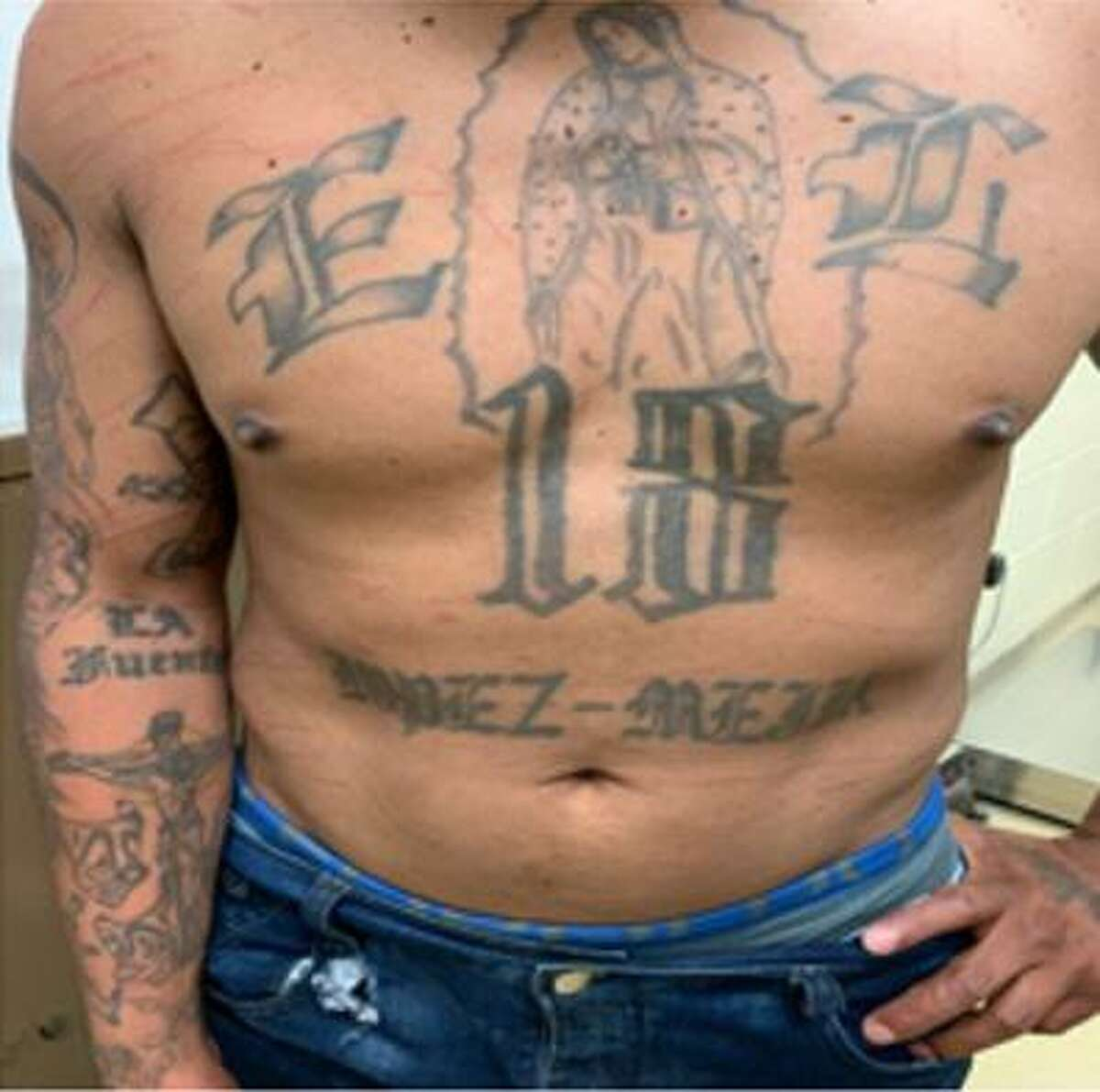 Tattoos related to the 18th Street gang are shown on the torso of a wanted member arrested June 28 by agents from the Hebbronville Border Patrol station.