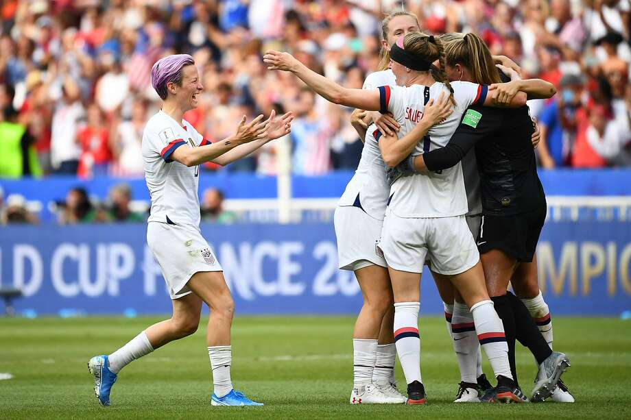 USA players celebrate during the France 2019 Womens World Cup football final match between USA and the Netherlands, on July 7, 2019, at the Lyon Stadium in Lyon, central-eastern France. (Photo by FRANCK FIFE / AFP)FRANCK FIFE/AFP/Getty Images Photo: FRANCK FIFE;Franck Fife / AFP / Getty Images