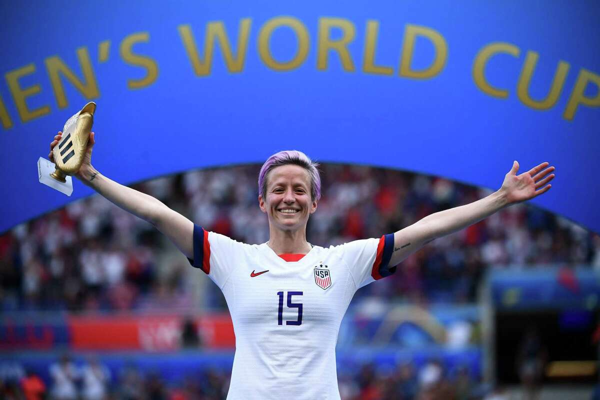 United States' forward Megan Rapinoe poses with the Golden Boot after the France 2019 Womens World Cup football final match between USA and the Netherlands, on July 7, 2019, at the Lyon Stadium in Lyon, central-eastern France. (Photo by FRANCK FIFE / AFP)FRANCK FIFE/AFP/Getty Images