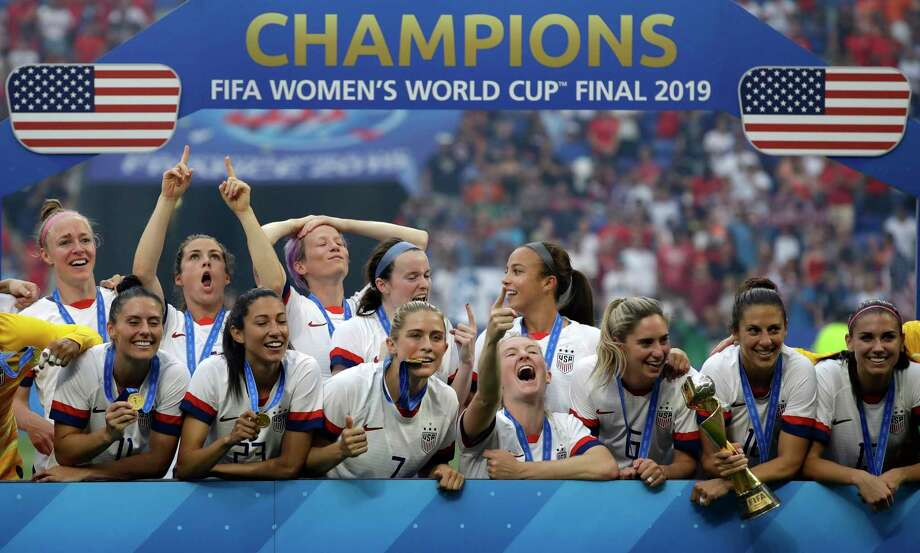 United States players celebrate after the Women's World Cup final soccer match between US and The Netherlands at the Stade de Lyon in Decines, outside Lyon, France, Sunday, July 7, 2019. (AP Photo/Alessandra Tarantino) Photo: Alessandra Tarantino, Associated Press / Copyright 2019 The Associated Press. All rights reserved