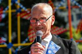 OAKLAND, CALIFORNIA - JULY 06: John Waters introduces performers at the 10th annual Burger Boogaloo festival at Mosswood Park on July 06, 2019 in Oakland, California. (Photo by Miikka Skaffari/Getty Images)