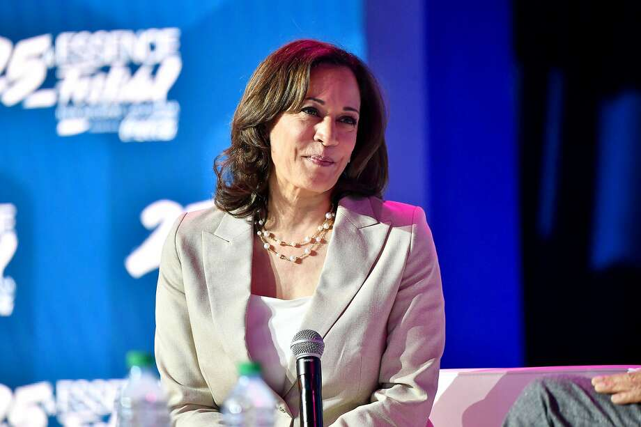 Kamala Harris speaks on stage at 2019 ESSENCE Festival Presented By Coca-Cola at Ernest N. Morial Convention Center on July 06, 2019 in New Orleans, Louisiana.  Photo: Paras Griffin, Getty Images For ESSENCE